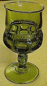 "Indiana Kings crown  5 5/8"" green stemmed goblet"