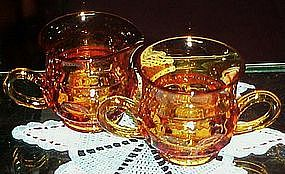 Tiffin / Indiana kings crown amber creamer and sugar