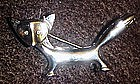 Silvertone fox pin with rhinestone eyes