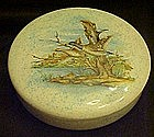 Large ceramic covered dish with Mallards in flight