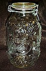 Clear bail top jar for Cookies, embossed fruit pattern