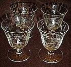 Set of vintage  floral etched crystal cocktail glasses