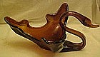 Large hand blown swan dish, dark amber/ brown