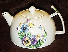 Porcelain teapot, pansies, butterflies, poppies, & bees