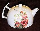 Porcelain teapot, pansies, butterflies, poppies, & bees