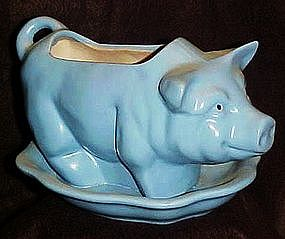 Blue glazed pottery pig planter