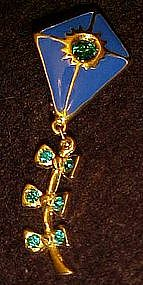 LIA enamel and rhinestone kite pin, moveable tail