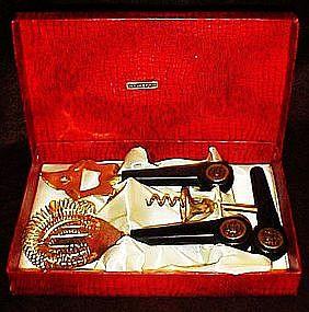 Gold plated ,bakelite bar utensil set, original box