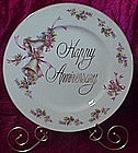 Vintage Happy Anniversary plate, bells and flowers