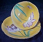 Merit China cup and saucer set, yellow with lavender