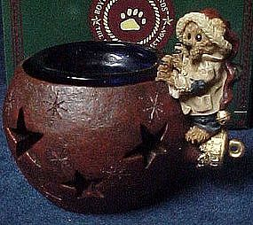 Boyds Edmund the elf bear, holiday glow votive. MIB
