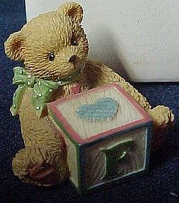 "Cherished Teddies, bear with abc  ""F"" block   MIB"