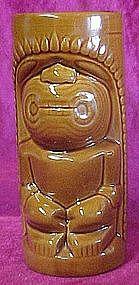 Glazed ceramic Tiki totem drink glass