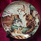 Stitchin' kittens  collector plate, Lesley hammett