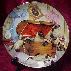 Attic Attack collector plate, Country Kitties series