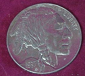 1937 D Buffalo Nickel, paperweight