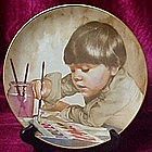 Painting a picture collector plate by Liz Moyes