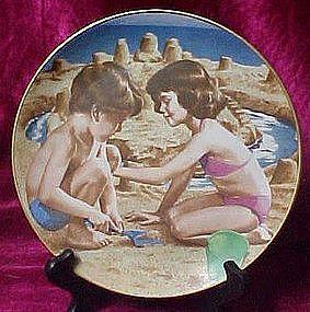 Building Sandcastles plate, Liz Moyes, Danbury mint