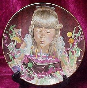 Birthday wish plate, Liz Moyes, Danbury Mint