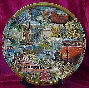Colorful  metal souvenir tray of Arizona