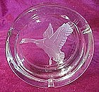Sportsman flying goose etched ashtray, signned Coyle