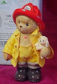 Cherished Teddies Clark the Fireman with puppy figurine
