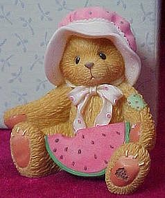 Cherished teddies Londa with watermelon figurine