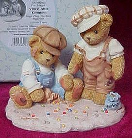 Cherished Teddies Vince and Connor playing marbles