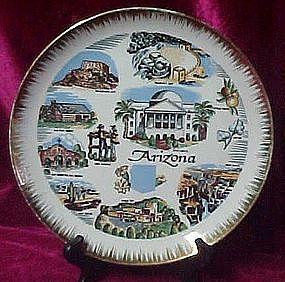 """Scenic Arizona state souvenir plate, 10 1/8"""""""