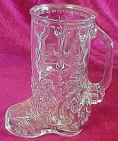 Fancy clear cowboy boot drinking glass, Libbey