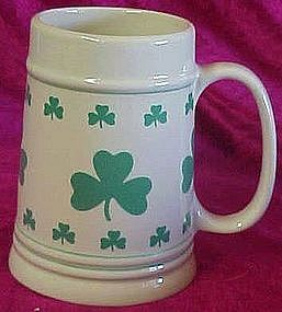 Irish beer stein, lots of  green shamrocks