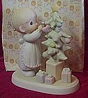Precious Moments figurine, God cared enough to send....
