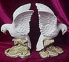 Hand painted  Dove or pigeon bookend figurines, OMC