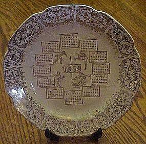 1968 calendar plate, four seasons, gold filigree