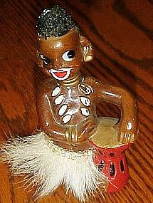 Vintage Enesco native figurine with bongo, fur skirt