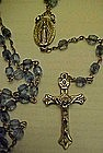 Blue  faceted bead Catholic Rosary