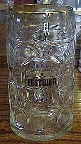 Large liter size glass beer mug FESTBIER stein
