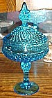 Indiana glass diamond point covered compote, regal blue