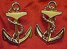 Avon gold tone anchor clip earrings