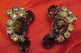 Vintage smoky blue rhinestone clip on earrings