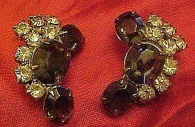 Vintage smoky blue rhinestone clip on earrings