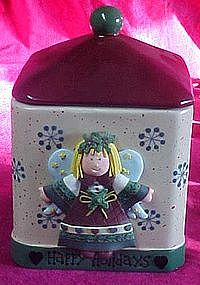 Happy Holidays angel cookie jar, freshness seal