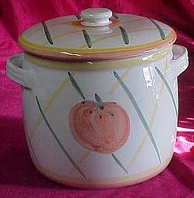 Large stoneware cookie jar, hand painted tomato / plaid