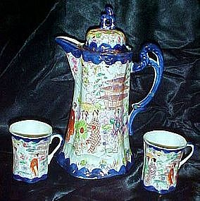 Geisha girl chocolate pot with 2 cups, cobalt  / gold