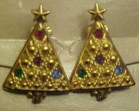 Avon Christmas tree clip earrings, rhinestone accents