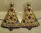 Avon Christmas tree clip earrings, rhinestone accents