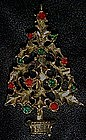 Vintage holly leaves Christmas tree pin