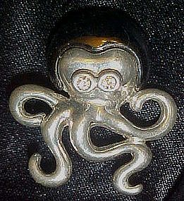 Two tone silver octopus pin, rhinestone eyes