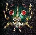 Wonderful enamel scarab beetle with rhinestones
