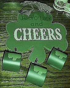 Irish Cheers & Luck, shamrock, wood sign with cups